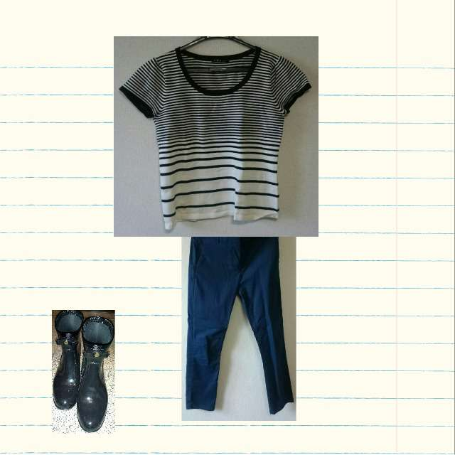 「夏、雨」に関するTシャツ/カットソー、GAPのパンツ等を使ったコーデ画像