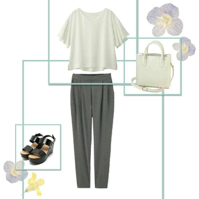 「シンプル、プチプラ」に関するGUのシャツ/ブラウス、GUのジョガーパンツ等を使ったコーデ画像