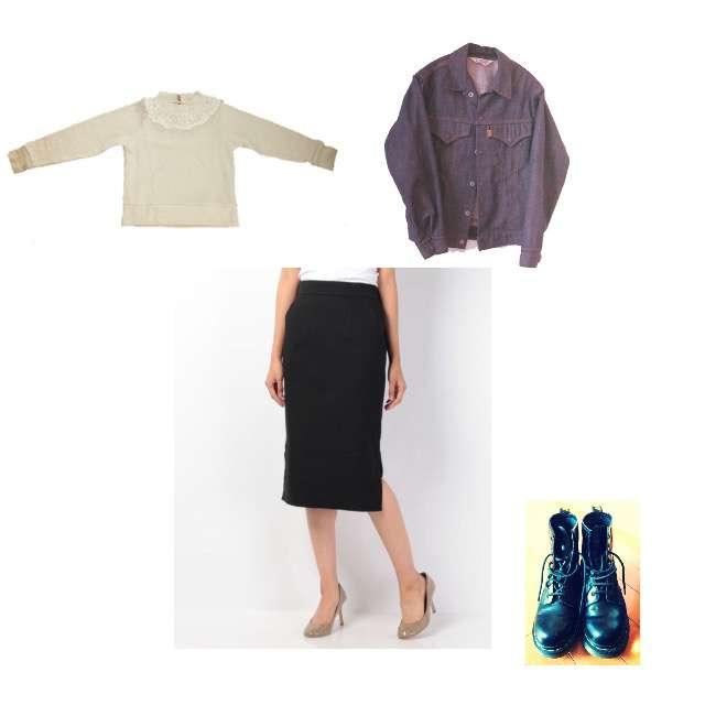 ニット/セーター、ANAYIのタイトスカート等を使ったコーデ画像