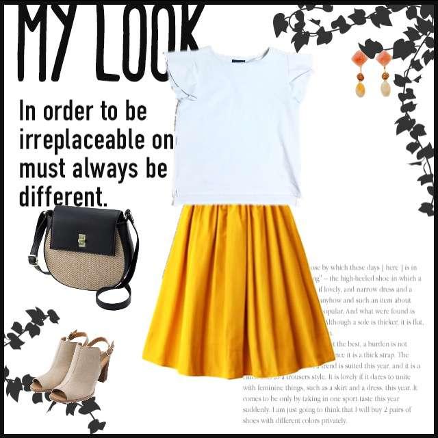 Re:EDITのTシャツ/カットソー、GRLのフレアスカート等を使ったコーデ画像