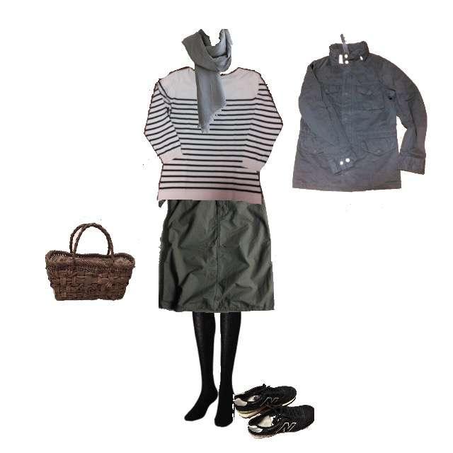 JOHN SMEDLEYのプルオーバー、n100のひざ丈スカート等を使ったコーデ画像