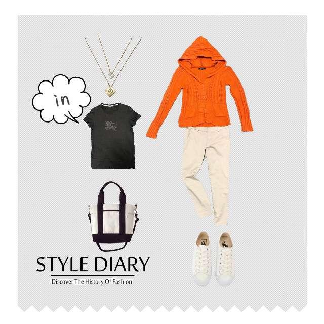 「カジュアル、お散歩」に関するBURBERRYのTシャツ/カットソー、Shell Rayのカーディガン等を使ったコーデ画像