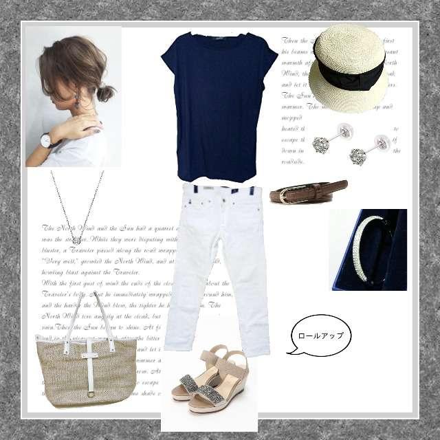 「シンプルカジュアル」に関するPARIGOTのTシャツ/カットソー、AGのデニム等を使ったコーデ画像