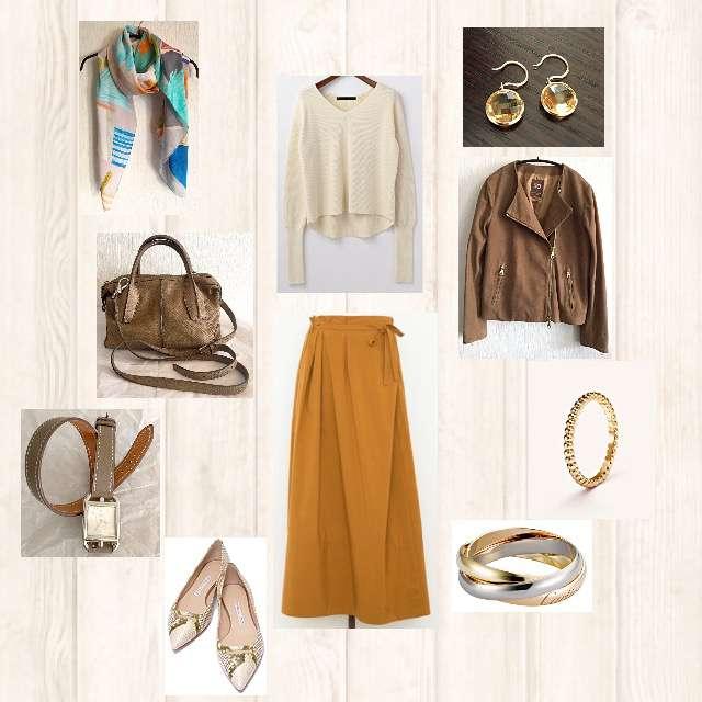 「シンプル、ディナー」に関するmartiniqueのニット/セーター、Drawerのマキシ丈スカート等を使ったコーデ画像