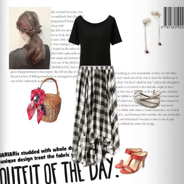 UNIQLOのTシャツ/カットソー、JEANASISのミモレ丈スカート等を使ったコーデ画像