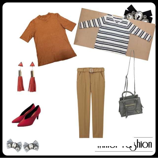 ニット/セーター、UNIQLOのTシャツ/カットソー等を使ったコーデ画像