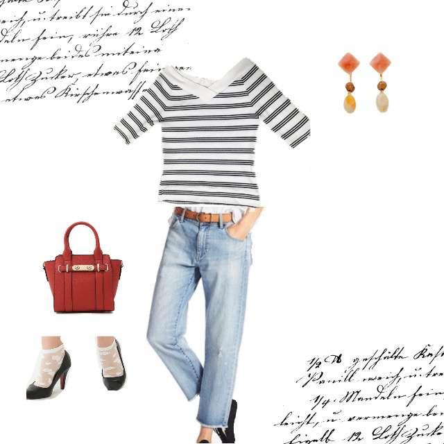 RETRO GIRLのニット/セーター、UNIQLOのデニムパンツ等を使ったコーデ画像