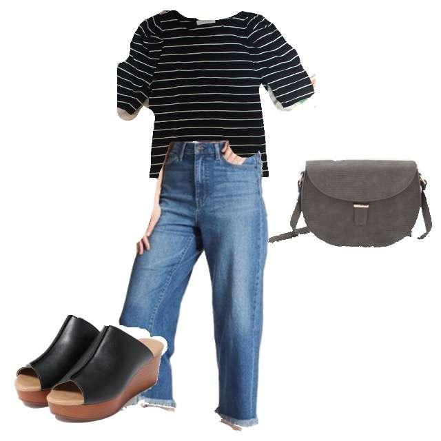 LOWRYS FARMのTシャツ/カットソー、UNIQLOのデニムパンツ等を使ったコーデ画像