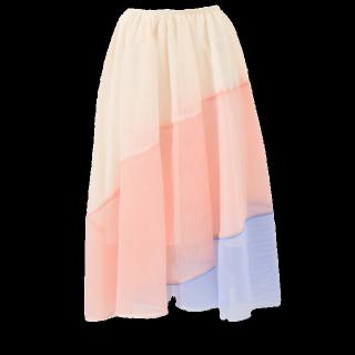 このコーデで使われているChestyのミモレ丈スカート[ピンク/ブルー/ベージュ]