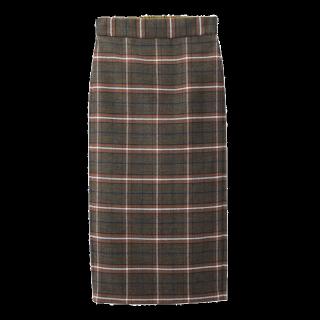 このコーデで使われているGUのタイトスカート[ブラウン/レッド]