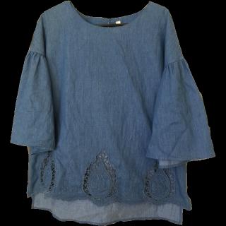 このコーデで使われているしまむらのTシャツ/カットソー[ブルー]