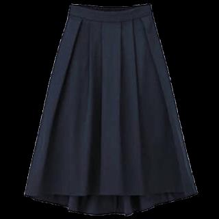 このコーデで使われているGUのミモレ丈スカート[ネイビー]
