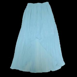 このコーデで使われているByeByeのマキシ丈スカート[グリーン]