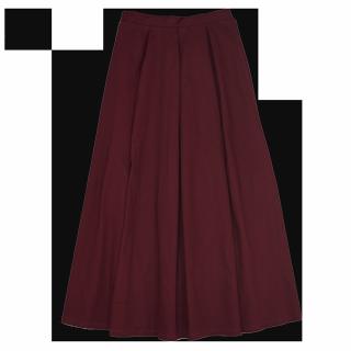このコーデで使われているmerlotのマキシ丈スカート[ボルドー]