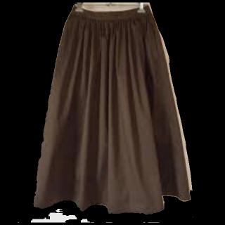 このコーデで使われているUNIQLOのミモレ丈スカート[ブラウン/カーキ]