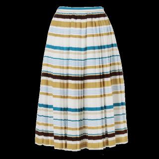 このコーデで使われているMURUAのひざ丈スカート[ブルー/ホワイト/ベージュ]