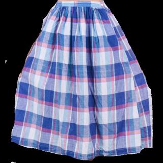 このコーデで使われているVINTAGEのミモレ丈スカート[ブルー]