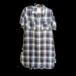 このコーデで使われているグローバルワークスのシャツワンピ[ホワイト/ネイビー/ブルー/パープル]