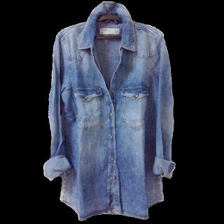 このコーデで使われているZARAのシャツ/ブラウス[ブルー]