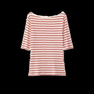 このコーデで使われているGUのTシャツ/カットソー[レッド/ホワイト]