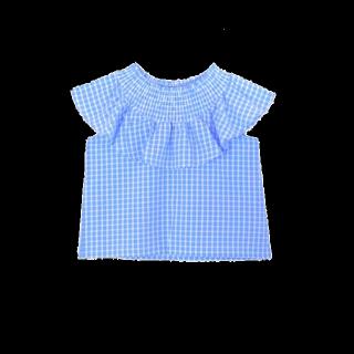 このコーデで使われているflowerのシャツ/ブラウス[ブルー/ホワイト]