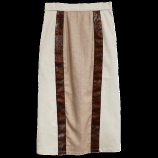 このコーデで使われているAmeri vintageのタイトスカート[ホワイト/ブラウン/ピンク/ベージュ]