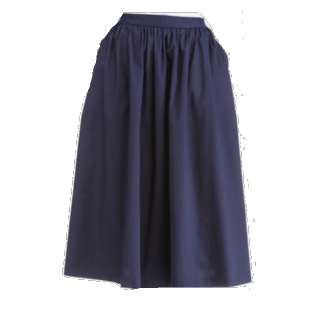 このコーデで使われているUNIQLOのミモレ丈スカート[ネイビー]