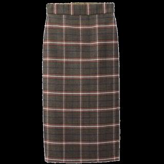 このコーデで使われているGUのミモレ丈スカート[ブラウン]