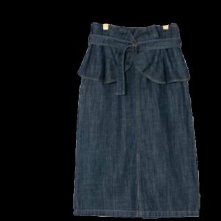 このコーデで使われているw closetのミモレ丈スカート[ブルー]