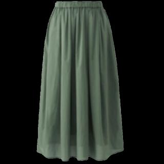 このコーデで使われているUNIQLOのミモレ丈スカート[グリーン]