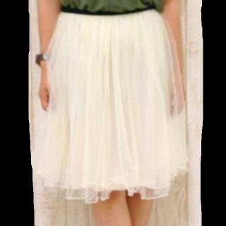 このコーデで使われているmysty womanのチュールスカート[ホワイト]