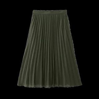 このコーデで使われているGUのプリーツスカート[カーキ]