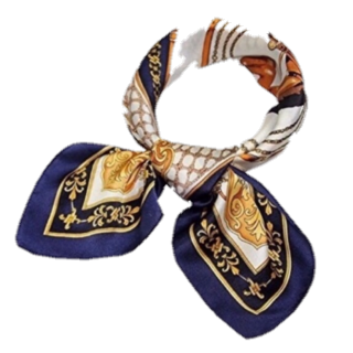 このコーデで使われているGUのスカーフ[ネイビー/ホワイト/ゴールド]