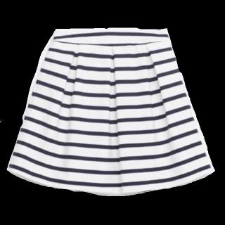 このコーデで使われているZARAのひざ丈スカート[ホワイト/ネイビー]