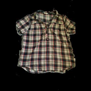 このコーデで使われているしまむらのシャツ/ブラウス[ホワイト/ブラック/グレー/レッド]