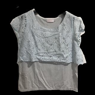 このコーデで使われているTシャツ/カットソー[ブルー/グレー]