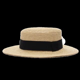 MUJI(無印良品)のベージュ/ブラックの帽子