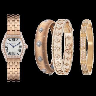 このコーデで使われているCartierの腕時計[ゴールド/ホワイト/ベージュ]