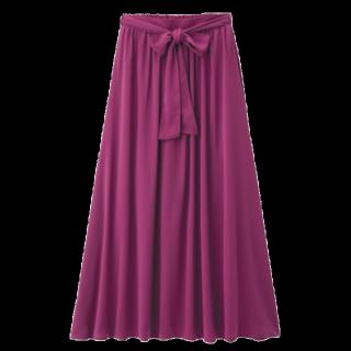 このコーデで使われているGUのマキシ丈スカート[ピンク/レッド]