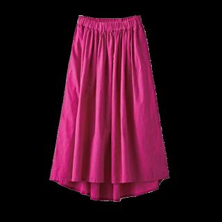 このコーデで使われているIEDITのミモレ丈スカート[ピンク]