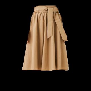 このコーデで使われているSTUDIOSのミモレ丈スカート[キャメル]