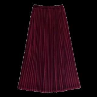 このコーデで使われているマキシ丈スカート[ボルドー]