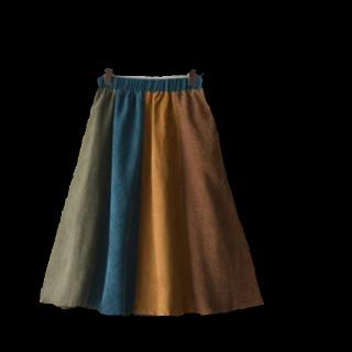 このコーデで使われているsoulberryのミモレ丈スカート[キャメル/カーキ/ブルー/その他]