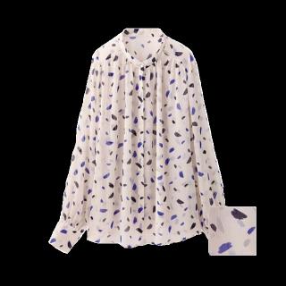 このコーデで使われているGUのシャツ/ブラウス[ホワイト/ネイビー/ブルー]