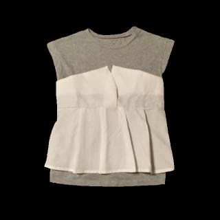 このコーデで使われているTシャツ/カットソー[グレー/ホワイト]