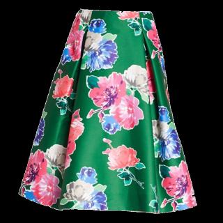 このコーデで使われているkate spadeのミモレ丈スカート[グリーン/ブルー/ピンク/グレー]