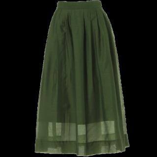 このコーデで使われているMURUAのミモレ丈スカート[グリーン/カーキ]