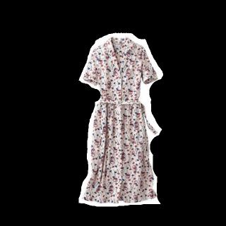 このコーデで使われているUNIQLOのシャツワンピ[ホワイト/レッド/ブルー]