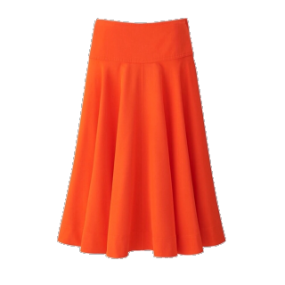 このコーデで使われているUNIQLO Uのミモレ丈スカート[オレンジ]