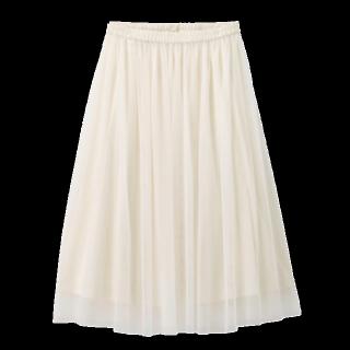 このコーデで使われているGUのミモレ丈スカート[ホワイト]